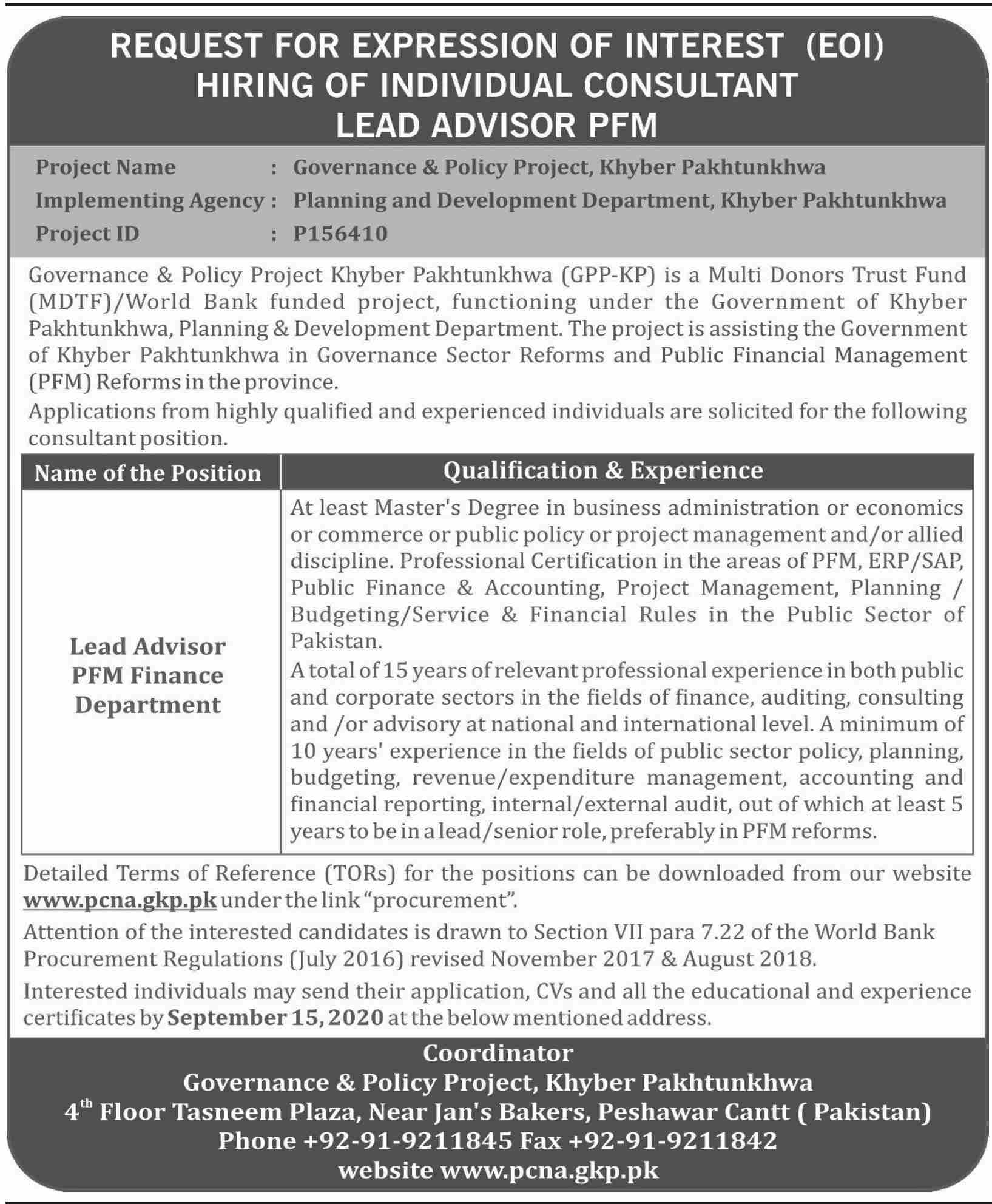 Governance & Policy Project GPP Jobs August 2020