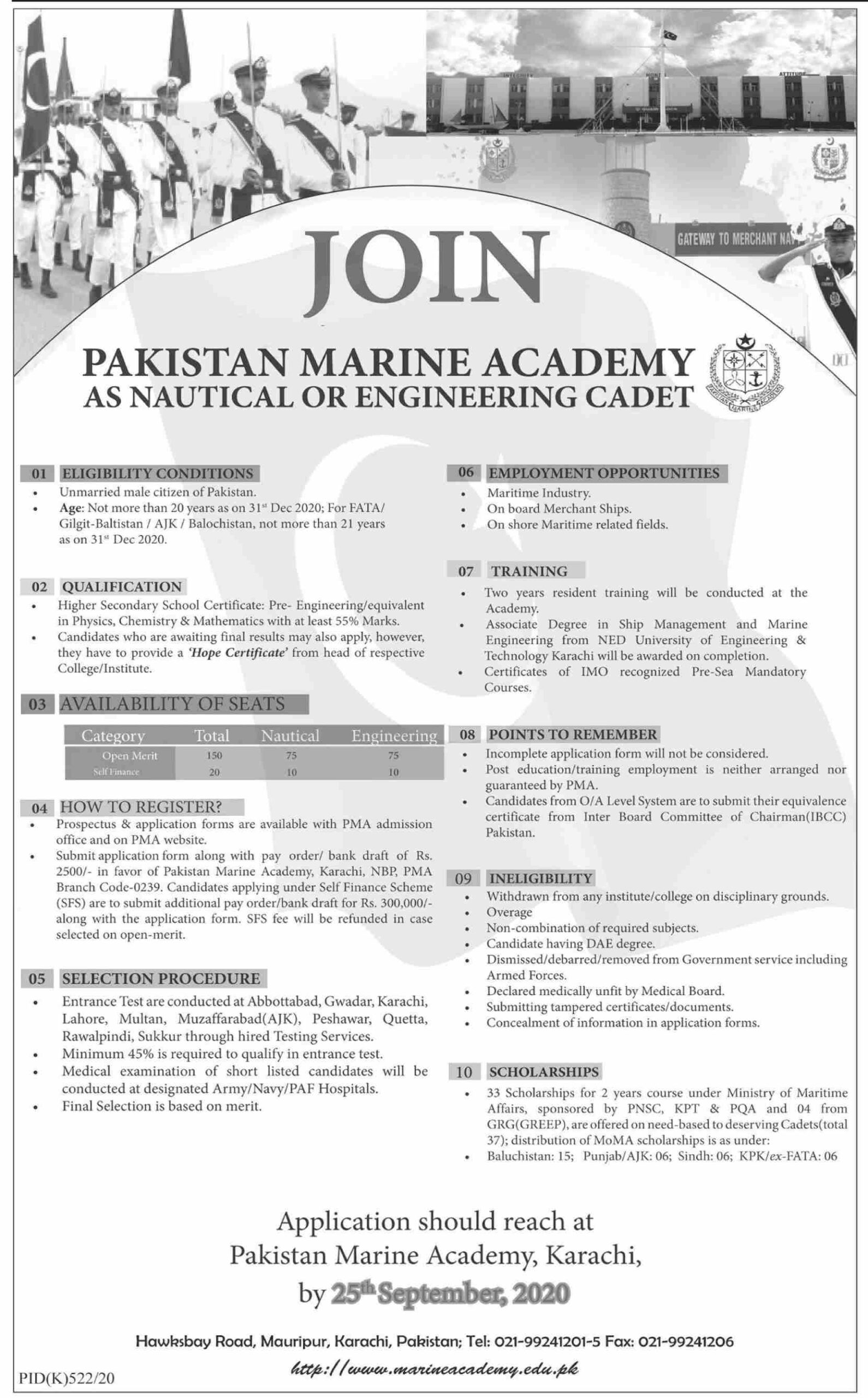 Pakistan Marine Academy Jobs August 2020 (50 Posts)