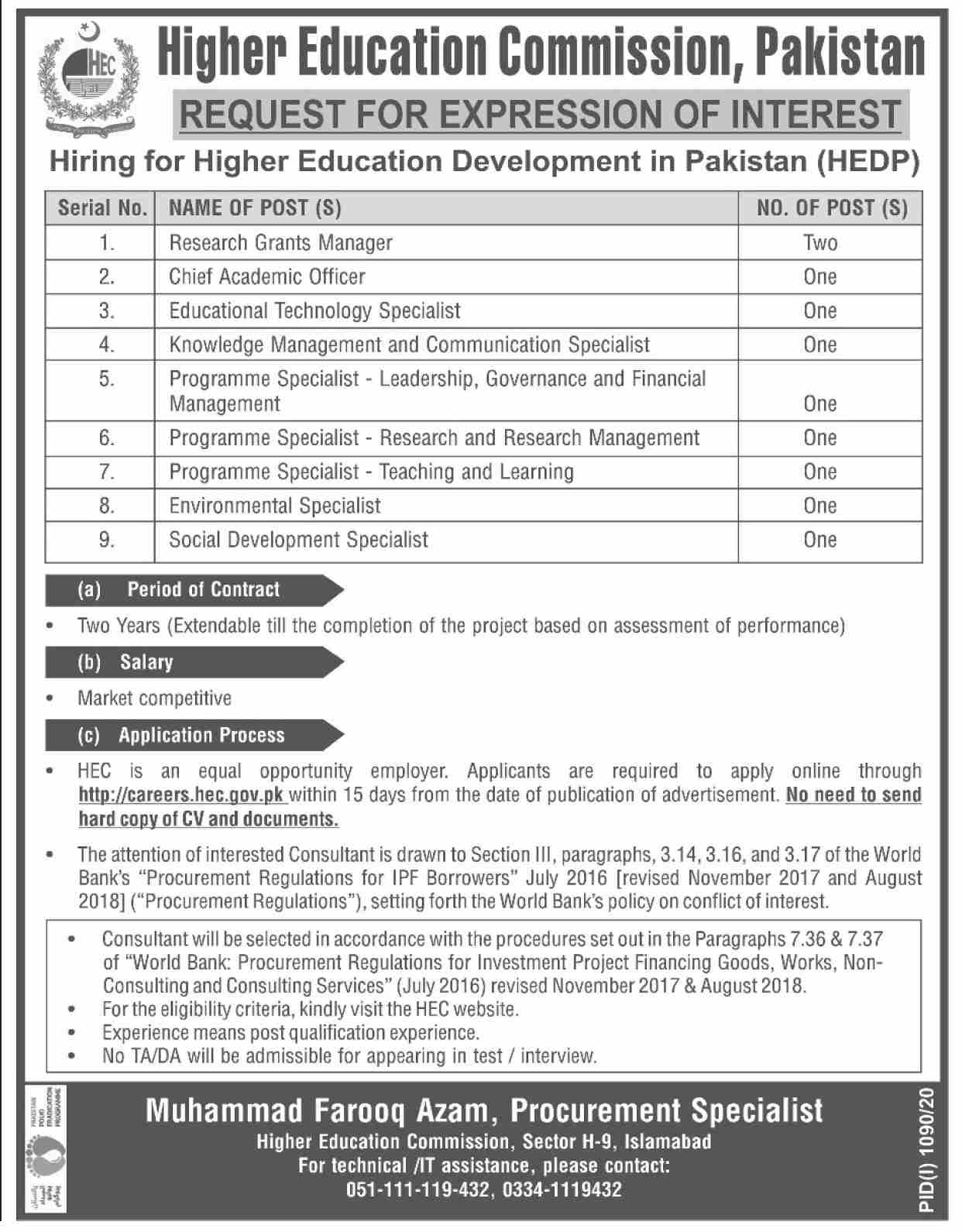 Higher Education Commission HEC Jobs August 2020