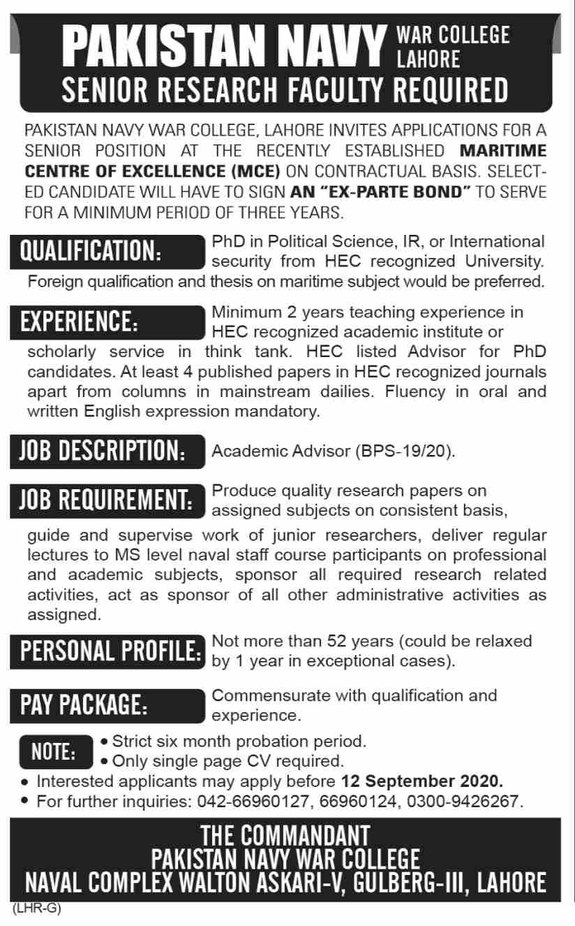 Pakistan Navy War College MCE Jobs August 2020