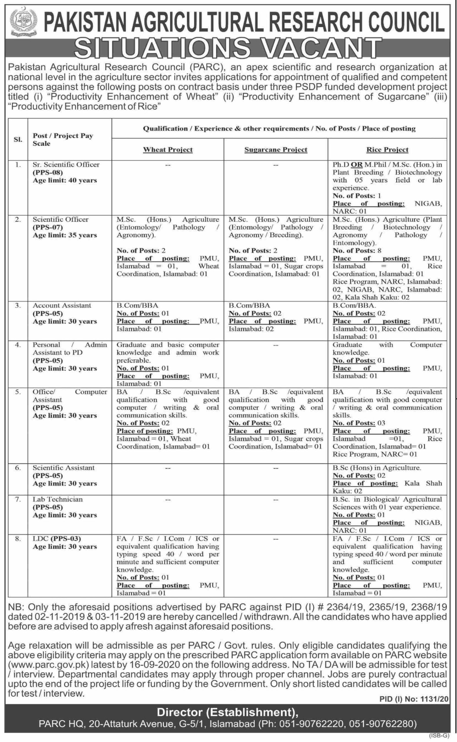 Pakistan Agricultural Research Council PARC Jobs September 2020
