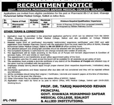 Govt Khawaja Muhammad Medical College Sialkot And Allied Institutions Jobs September 2020