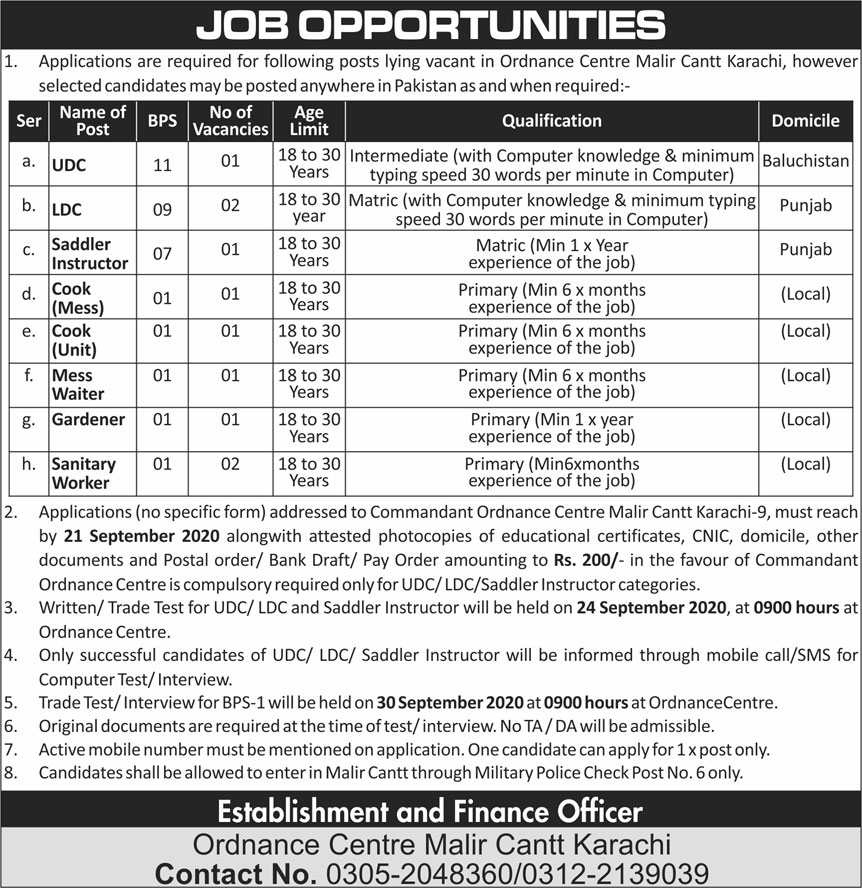 Ordnance Centre Malir Cantt Jobs September 2020