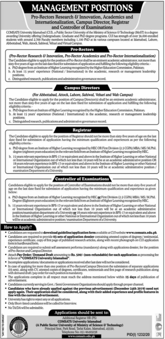 COMSATS University Islamabad Jobs September 2020