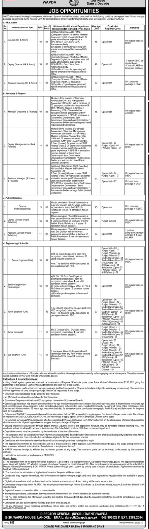 Water And Power Development Authority WAPDA Jobs September 2020 (171 Posts)