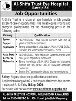 Al Shifa Trust Eye Hospital Jobs September 2020
