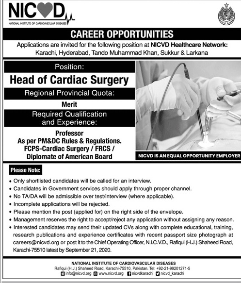 National Institute of Cardiovascular Diseases Jobs September 2020