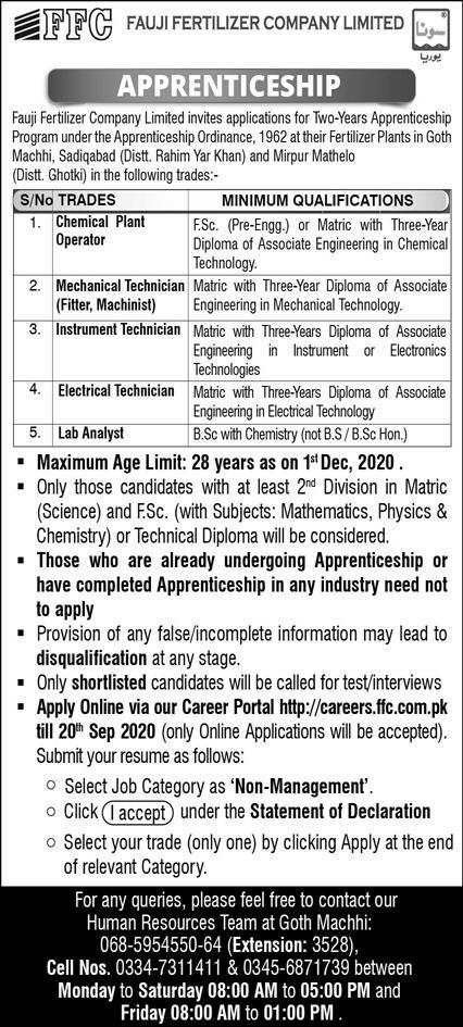 Fauji Fertilizer Company Jobs September 2020