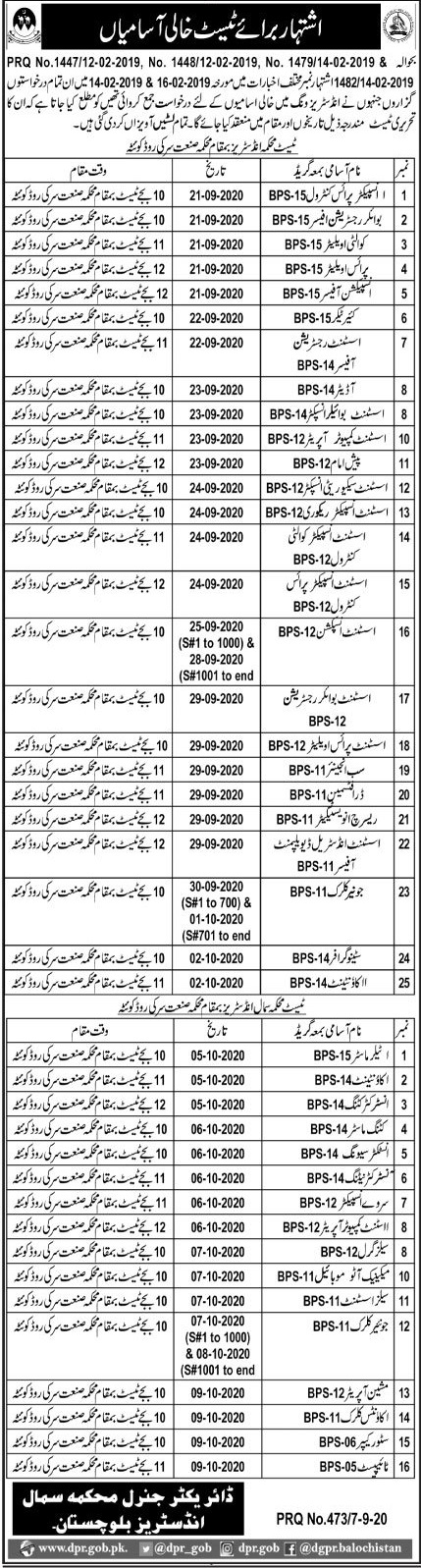 Balochistan Small Industries Department Jobs September 2020