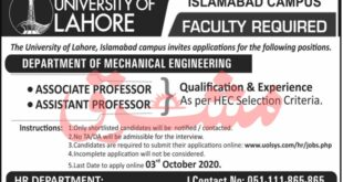The University Of Lahore UOL Jobs September 2020