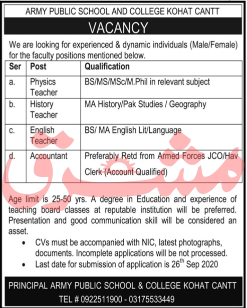 Army Public School & College Jobs September 2020