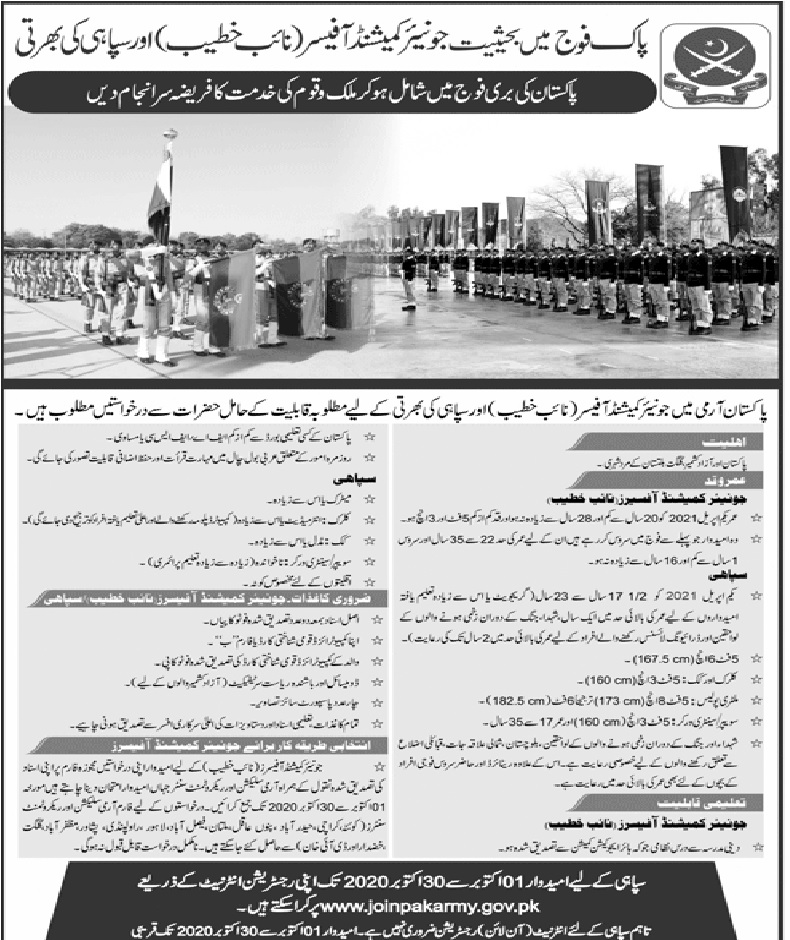 Pak Army as Solider (Sipahi) & Naib Khateeb Jobs September 2020