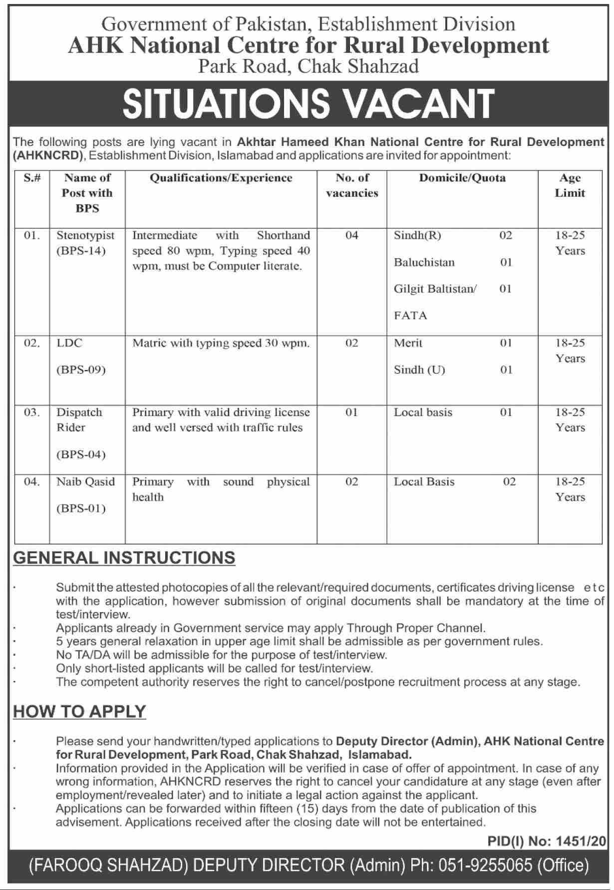 Establishment Division Jobs September 2020