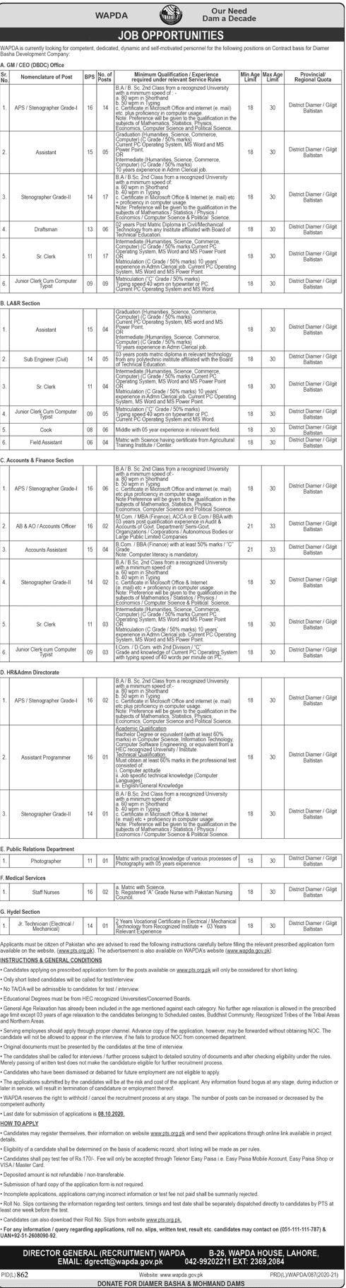 Water And Power Development Authority WAPDA Jobs September 2020 (124 Posts)