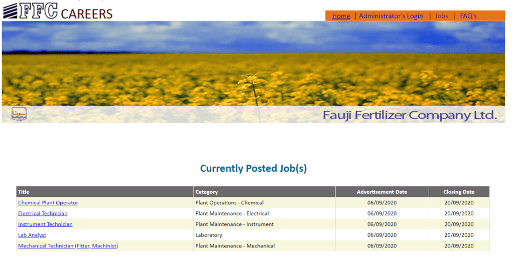 Fauji Fertilizer Company Limited FFC Apprenticeship 2020 Apply Online