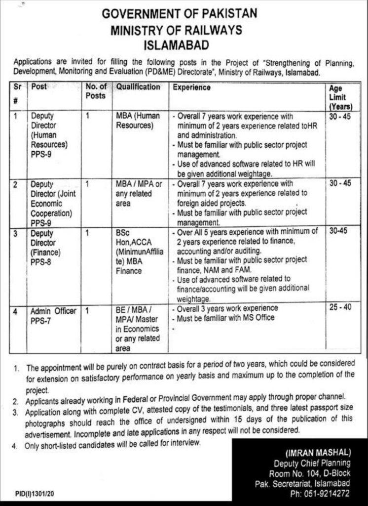 Ministry of Railways Islamabad Jobs 2020