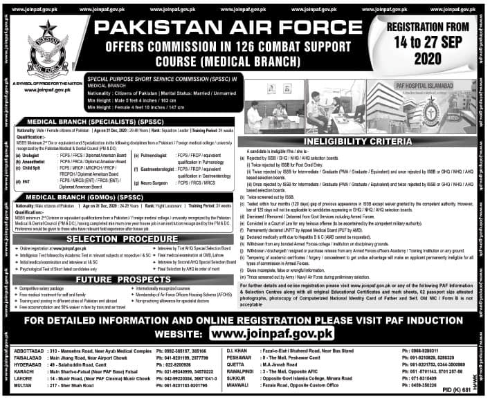 PAF Jobs September 2020