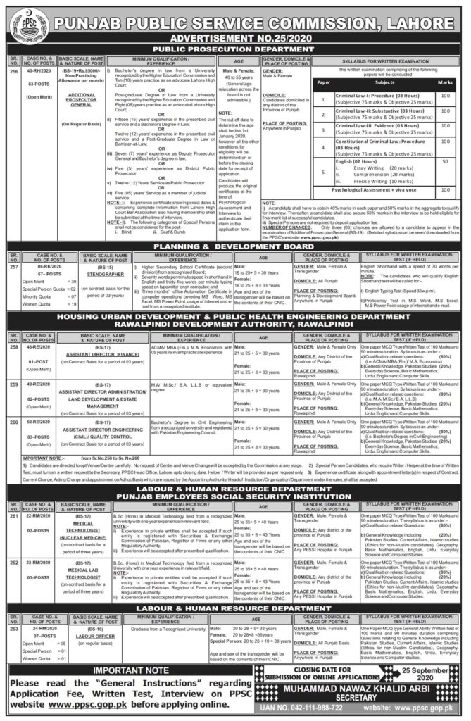 Labour Officer PPSC Jobs 2020 – Ad No 25/2020