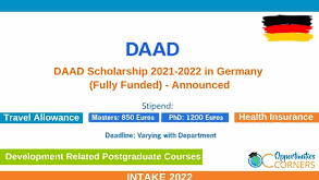 DAAD Scholarship 2021-2022 in Germany (Fully Funded)