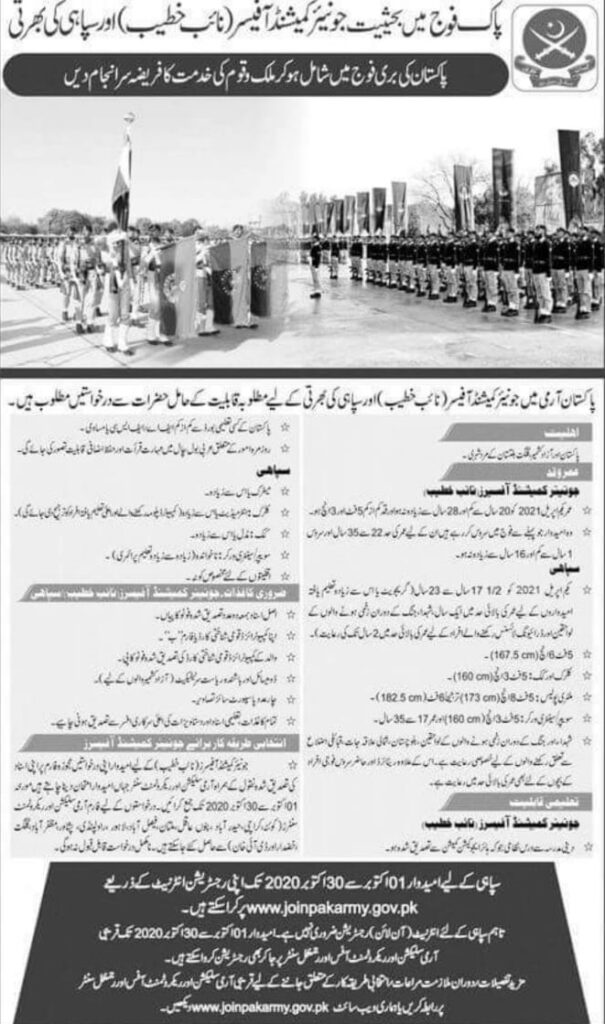 Pak Army Sipahi Jobs 2020 – 1000+ Posts Online Registration