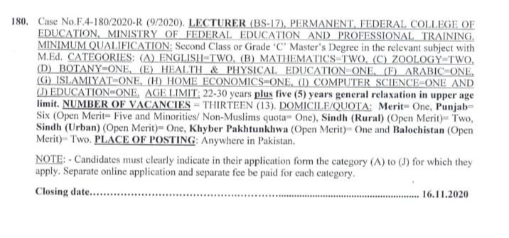 Lecturer Jobs by FPSC November 2020