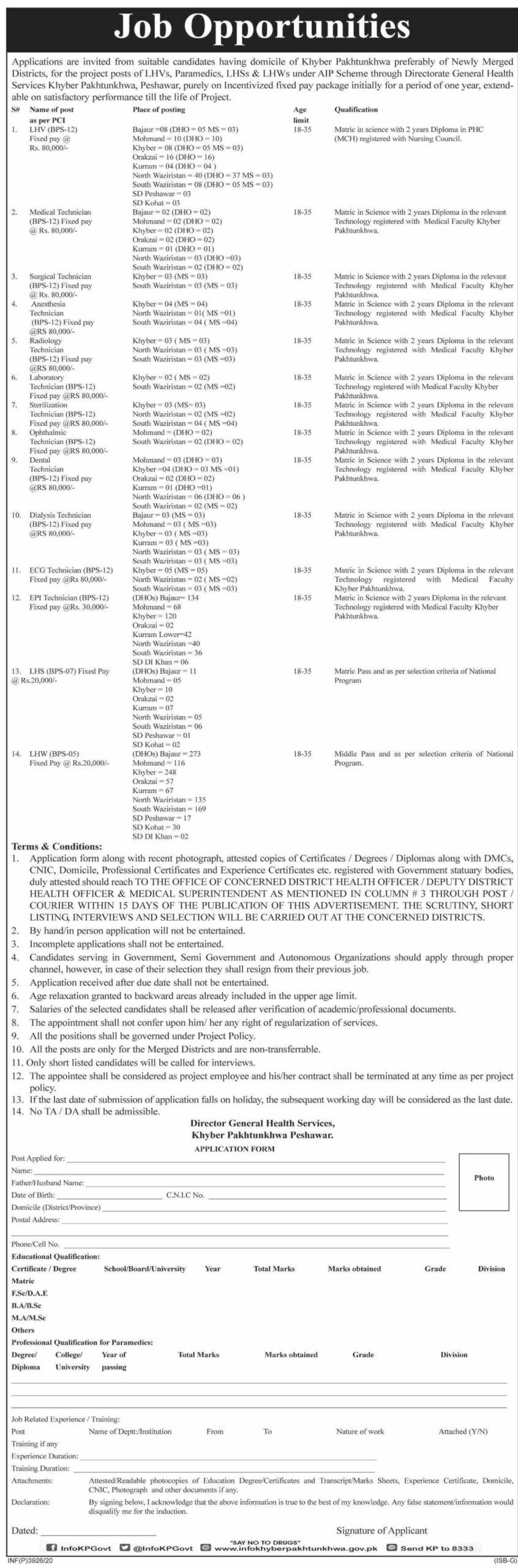 Directorate General Health Services Jobs October 2020