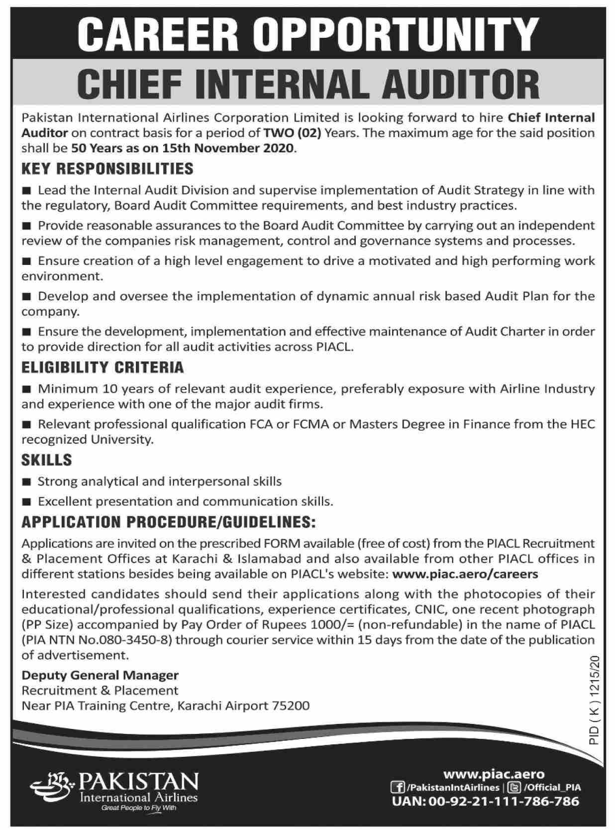 Pakistan International Airlines PIA Jobs November 2020