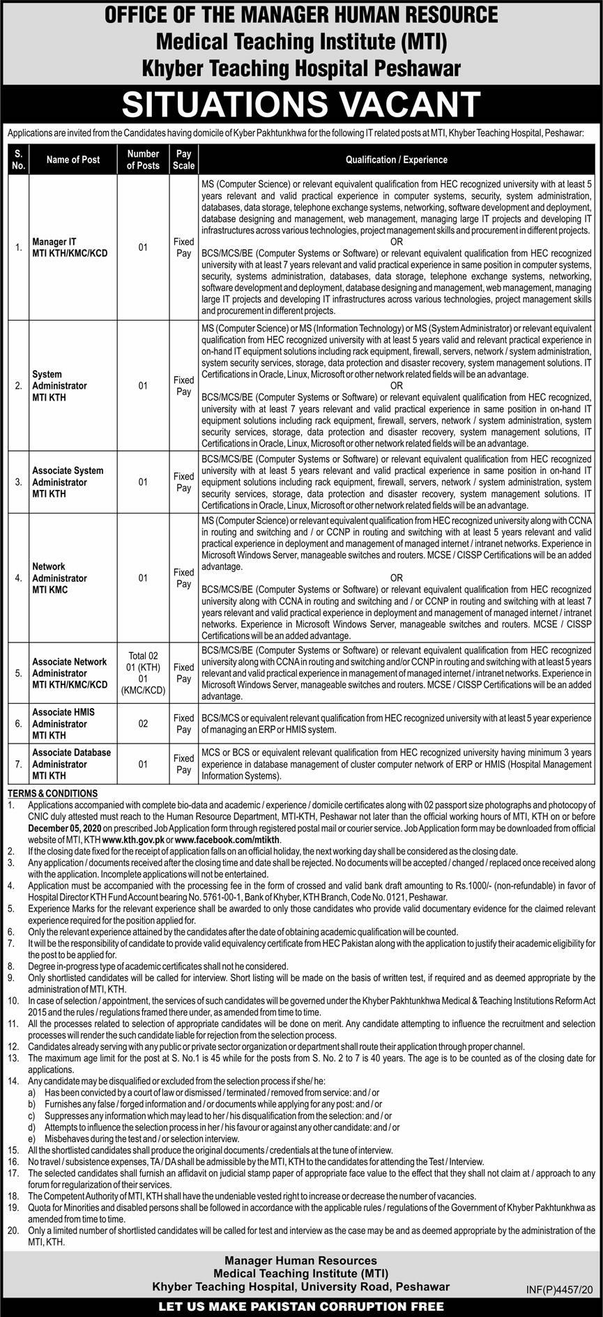 Medical Teaching Institute (MTI) Khyber Teaching Hospital Peshawar Jobs November 2020