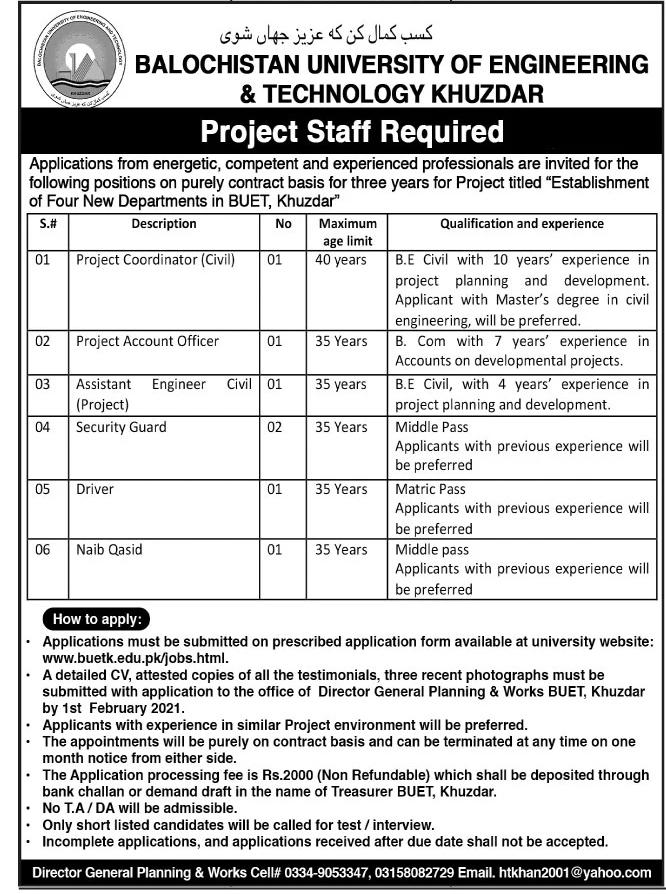Balochistan University of Engineering & Technology BUET Jobs 2021