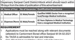 Cantonment Board Attock Jobs 2021
