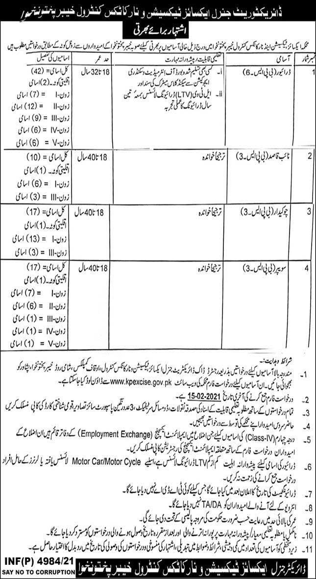 Excise and Narcotics KPK Jobs 2021