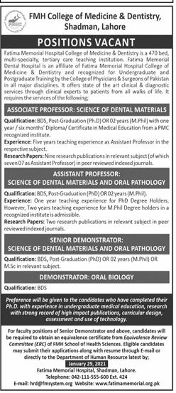 Fatima Memorial Hospital Lahore Jobs 2021