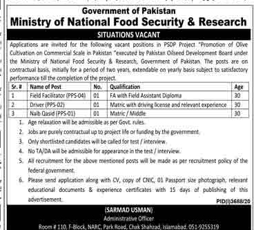 Ministry of National Food Security & Research Islamabad Jobs 2021