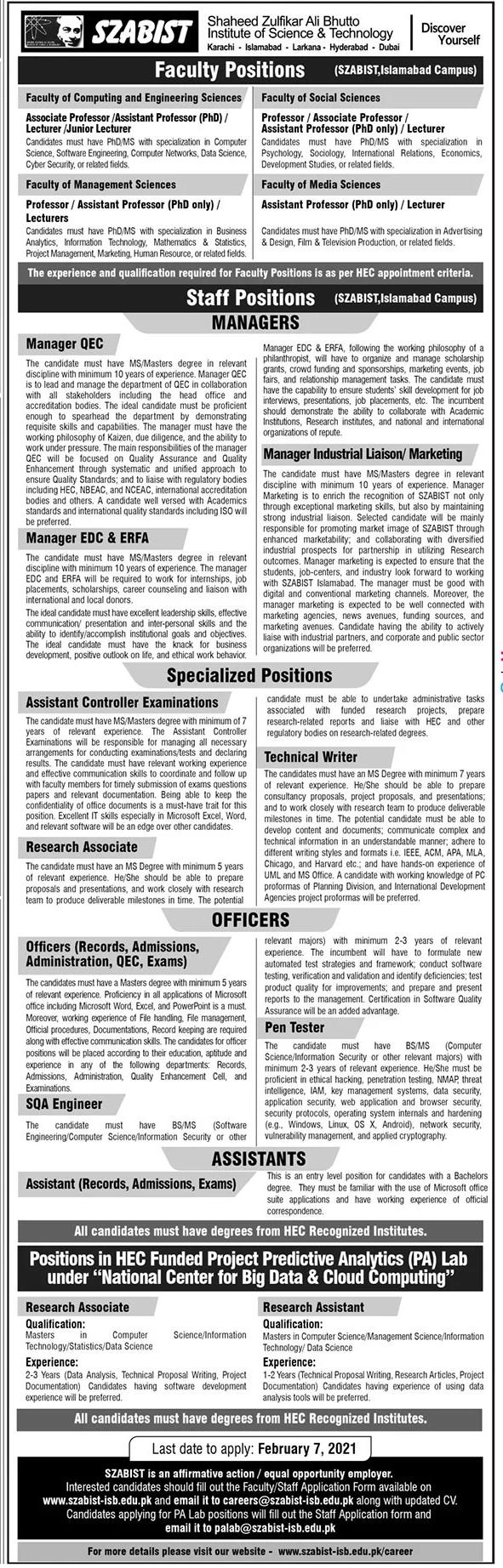 Shaheed Zulfiqar Ali Bhutto Institute of Science & Technology Jobs 2021