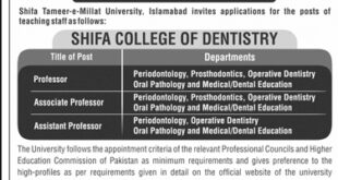 Shifa Tameer-e-Millat University Islamabad Jobs 2021