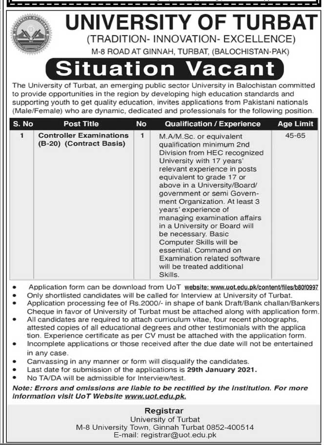 University of Turbat Jobs 2021