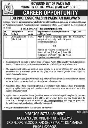 Ministry of Railways Islamabad Jobs February 2021