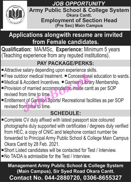 Army Public School & College System Okara Cantt Jobs 2021