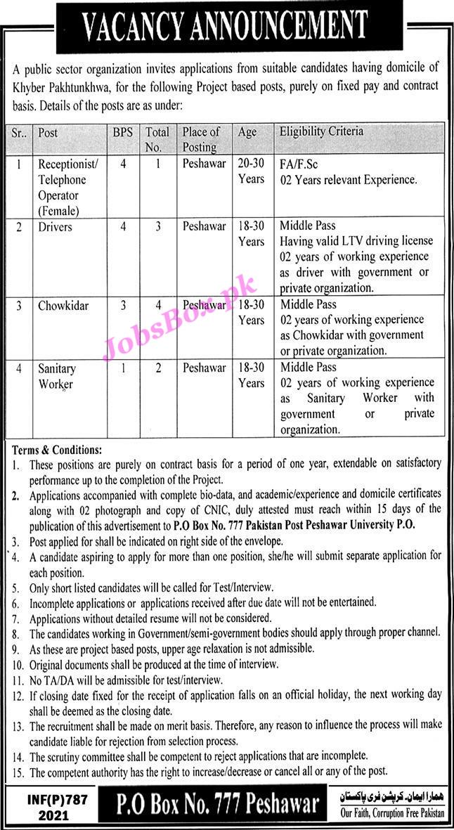 PO Box No 777 Peshawar Jobs 2021