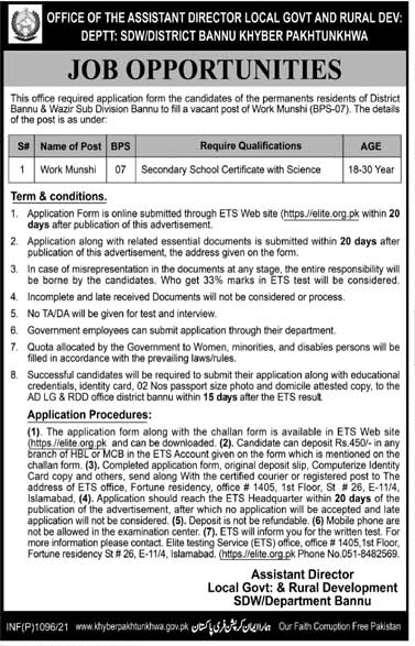 Local Government Khyber Pakhtunkhwa Jobs 2021