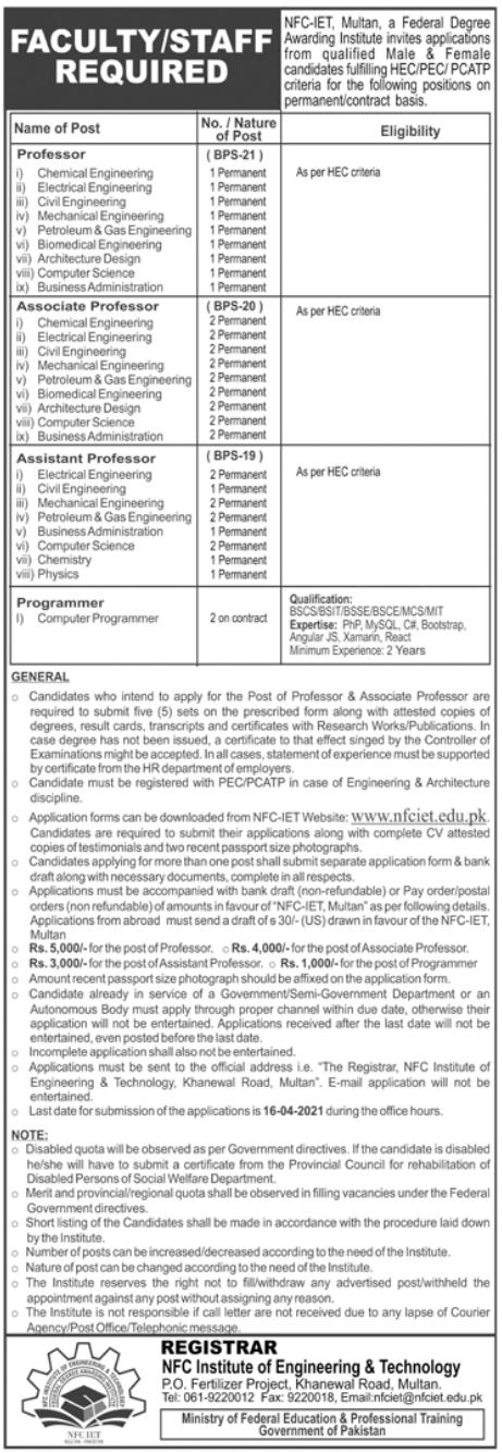 NFC IET Multan Jobs 2021