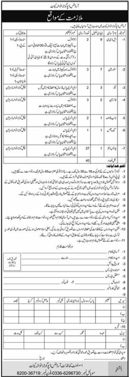 Pak Army Ordnance Depot Gujranwala Cantt Jobs 2021