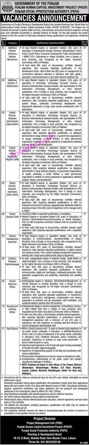 Punjab Social Protection Authority PSPA Jobs 2021