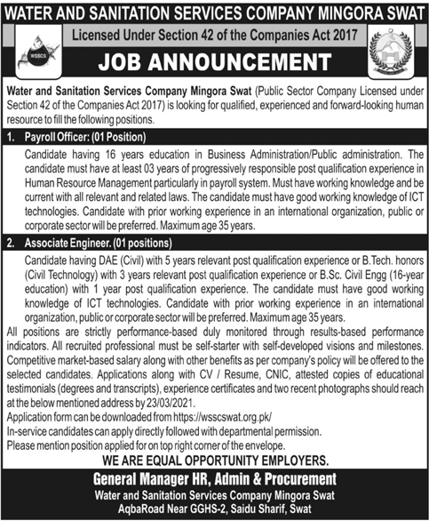 Water and Sanitation Services Company WSSC Mingora Swat Jobs 2021