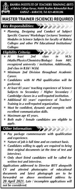 Bahria Institute of Teachers Training (BITT) Karachi Jobs 2021