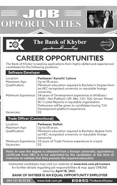 Bank of Khyber (BOK) Jobs 2021