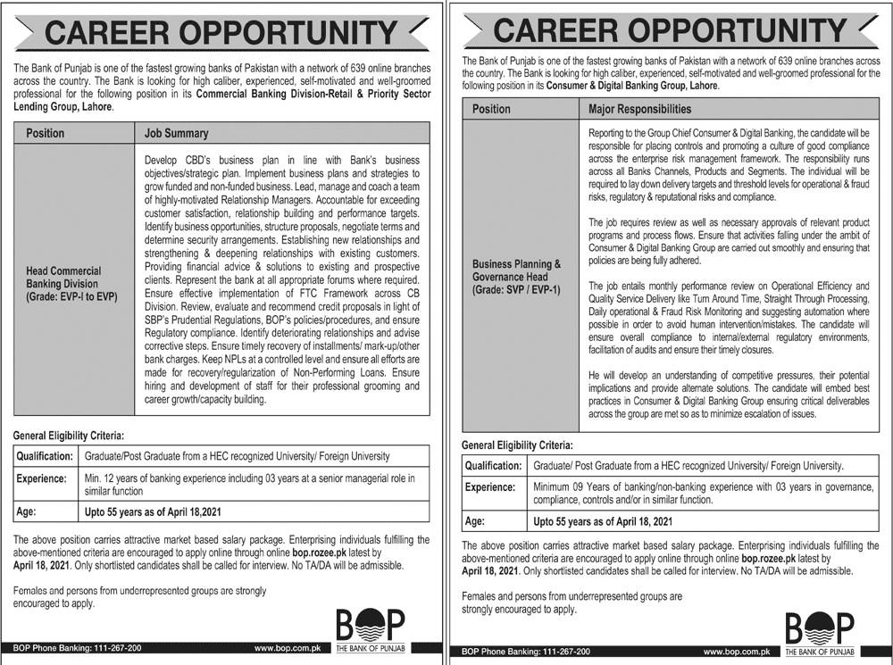 Bank of Punjab (BOP) Lahore Jobs 2021