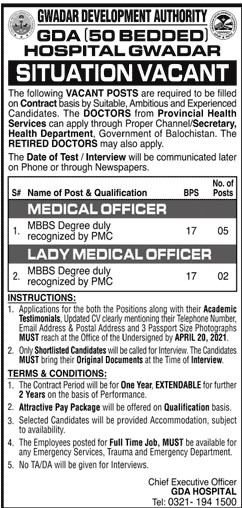 GDA Hospital Jobs April 2021