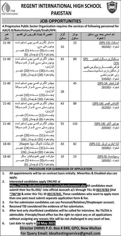 Regent International High School Pakistan Jobs 2021