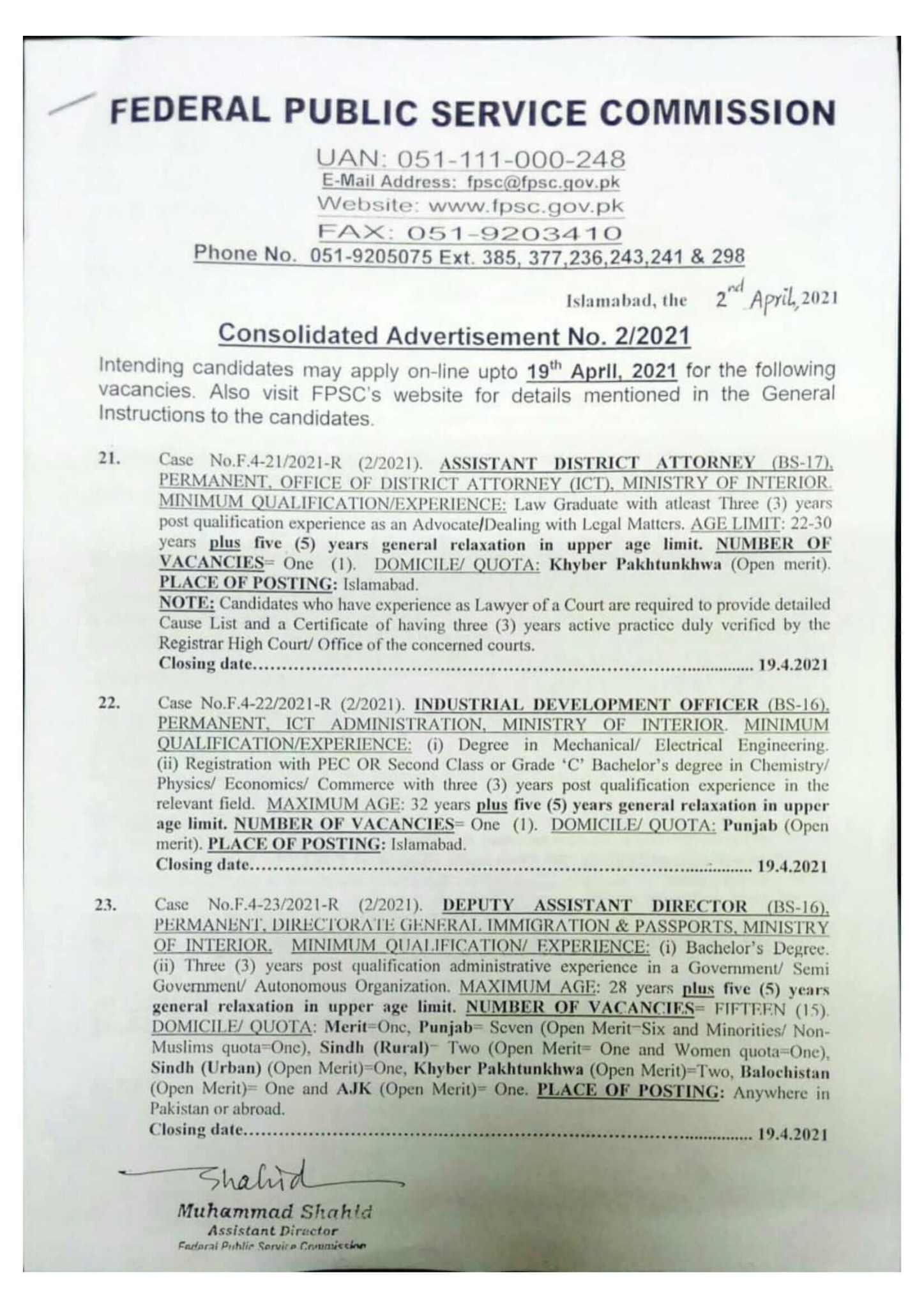 FPSC Jobs April 2021